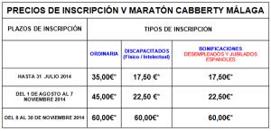 precios maraton cabberty malaga